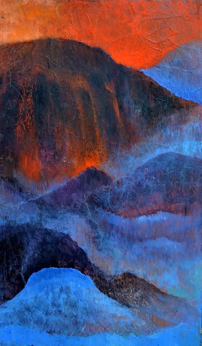 Tüzek és vizek (30x50cm, olaj és fa, 2016.)